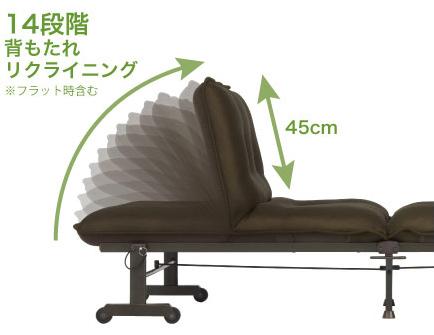 アテックスの折畳みベッドのリクライニング