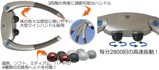 毎分2800回の高速振動するパワフルなパーカッションマッサージャー