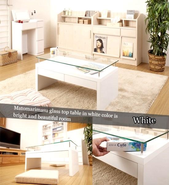 強化ガラステーブルホワイト