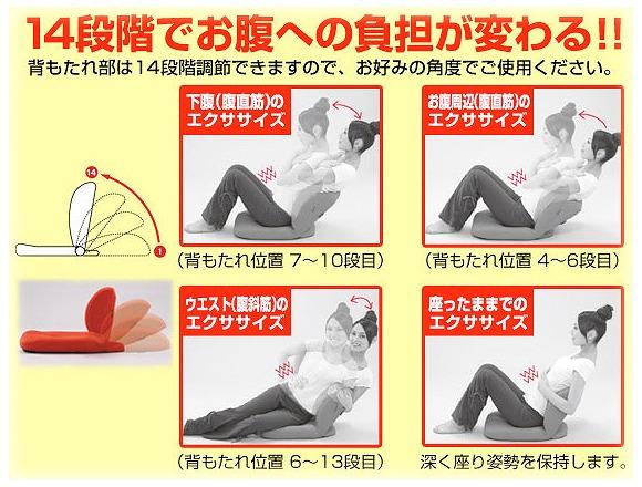 14段階の背もたれ角度を調整でき、運動強度を自由自在に変えられる腹筋チェア
