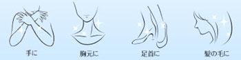 手に、胸元に、足首に、髪の毛など全身に使えます