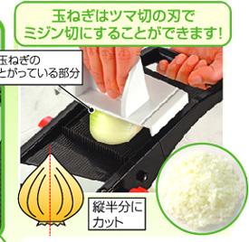 日本製スライサーで玉ねぎの微塵切り