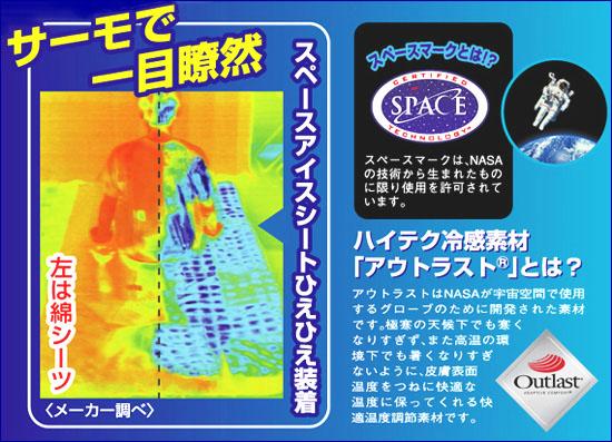 スペースアイスシートは、ハイテク冷感素材アウトラストを使用