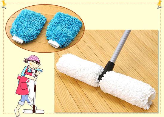 洗えるくるくるモップ&お掃除手袋セットでお部屋丸ごとお掃除完了♪