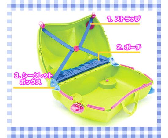 キッズ用のトランク TRUNKI【トランキ】は、ストラップ、ポーチ、シークレットボックス、カギまで付いてる!