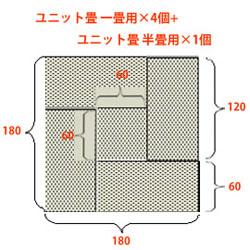 ユニット畳一畳用×4個+ユニット畳半畳用×1個