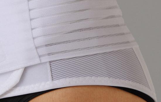 腰の形にフィットする特殊形状の板を4枚使用。薄型メッシュタイプで蒸れにくい。