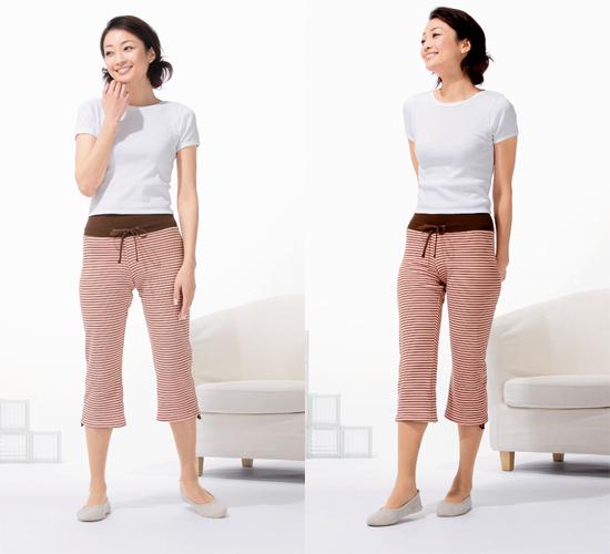 少し広めの裾の骨盤サポートパンツ7分丈