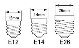 シャンデリア用電球のネジ部のサイズと種類
