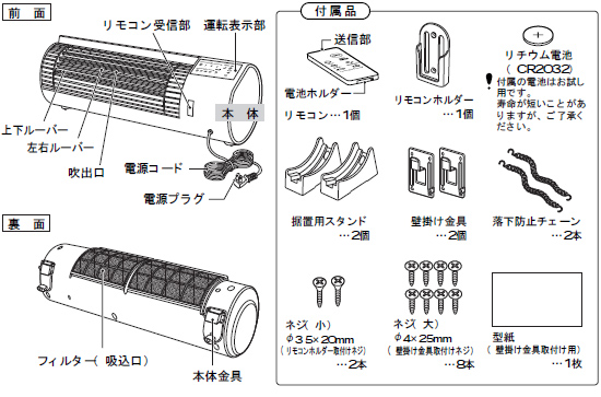 ツインバード 壁掛けワイドファン EF-D988W各部名称説明