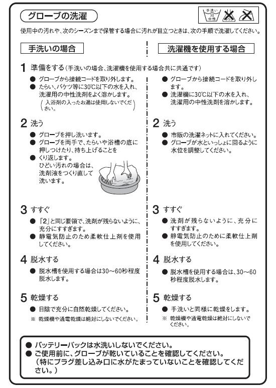 ヒーターグローブの洗濯方法