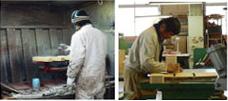 職人のゴミ箱製作の様子