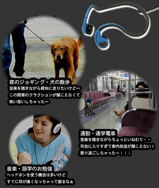 夜のジョギング・犬の散歩/通勤・通学/音楽・語学のお勉強